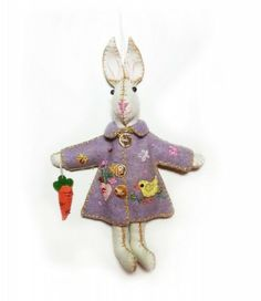 7.5″ Bunny Rabbit in Purple Parka Coat Hand Stitched Wool Felt Applique Ornament Plush Doll | Little Handcrafts