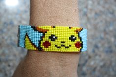 Pikachu Pokemon Beaded Bracelet pixel Geek Nerdy