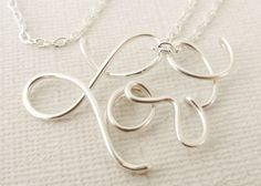 Sterling Silver Love Necklace by wirewrap on Etsy, $42.00