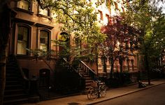 Brownstones on Perry Street, Greenwich Village, New York City by Vivienne Gucwa, via Flickr    Brownstones always reminds me of @Toni Tiu for some reason
