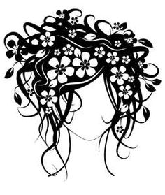 Flower Head Lady Silhouette/ stencil/ template.