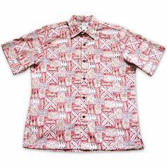 Olukai Red Hawaiian Reverse Shirt   #hawaiianshirt #alohashirt #hawaiianshirts #floralshirt #madeinhawaii