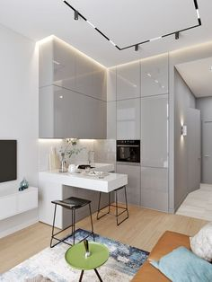 A kitchenette can be designer! - DECO PLANET at homes world - Trend Home Design 2019 Small Apartment Interior, Condo Interior, Small Apartment Decorating, Apartment Kitchen, Luxury Interior, Modern Apartment Design, Cozy Apartment, Contemporary Interior, Apartment Ideas