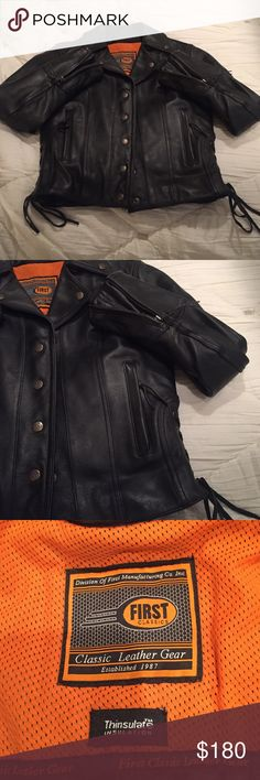 🎉‼️HP‼️🎉😎 Leather Rider Jacket😎 😎This is a NEW WITHOUT TAGS leather rider jacket. Never worn!! Comes with spare buttons. Beautiful side laces on both sides. Plenty of pockets and super heavy duty and warm!! Perfect gift for any sexy rider!!!!!😎 First Classics Jackets & Coats