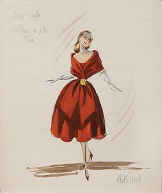 Edith Head 1951 Costume sketch for Elizabeth Taylor from A Place in the Sun