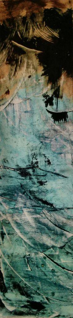 """Morning Dew"" by Iris Einfeldt    http://www.isisicefieldgallery.com/2013/05/morning-dew-by-iris-einfeldt.html  #oil #rice #paper #painting #Oilonricepaper #art #kunst #malen #light #licht (back-lit) #green #blue #black #beige #cyan"
