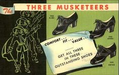 LINEN Great Color Advertising Postcard – Three Musketeers Shoes for ladies, 1940s