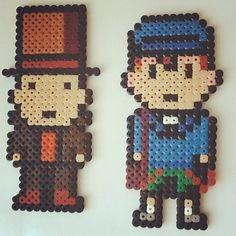 Professor Layton and Luke perler beads by pixelcraft84