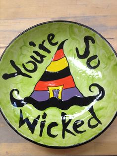 You're so wicked Halloween Plates, Halloween Rocks, Halloween Mug, Halloween Painting, Halloween Crafts, Halloween Decorations, Feather Painting, Ceramic Painting, Stone Painting