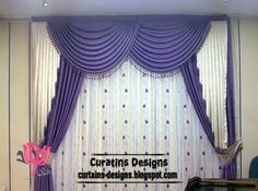 latest purple curtain design and draperies, purple windows treatment