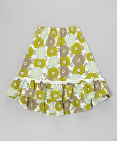 Take a look at this Green & Ice Blue Mums The Word Hi-Low Skirt - Toddler & Girls by Trish Scully Child on #zulily today!