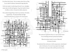 Section and plan of house without function. Labirynth. Maze. Darkness.