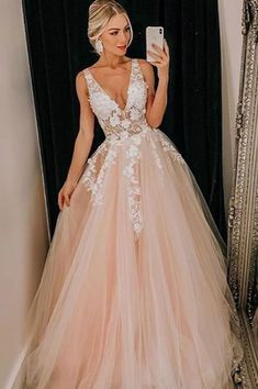 Pink v neck tulle lace long prom dress, pink evening . Read more The post Pink v neck tulle lace long prom dress, pink evening dress appeared first on How To Be Trendy. Senior Prom Dresses, Pretty Prom Dresses, V Neck Prom Dresses, Prom Outfits, Tulle Prom Dress, Beautiful Dresses, Lace Dress, Tulle Lace, Pink Tulle