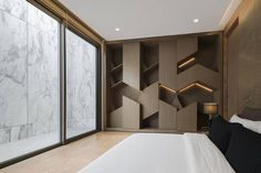 """Openbox Builds a Monolithic """"Marble House"""" Shelf Design, Cabinet Design, Home Interior, Interior Decorating, Feature Wall Design, Feature Walls, Best Modern House Design, Marble House, Muebles Living"""