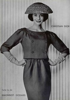 1956 Christian Dior boatneck empire-waist double-breasted jacket dress