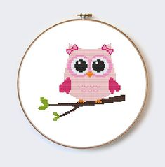 Hey, I found this really awesome Etsy listing at https://www.etsy.com/uk/listing/243081638/pink-owl-on-branch-modern-cross-stitch