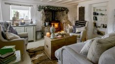 Step inside this idyllic thatched cottage with gorgeous Scandi interior Be inspired by this Scandi cottage in Cornwall Cottage Living Rooms, Living Room Tv, Cottage Lounge, Cozy Cottage, Living Room Without Tv, Cottage Design, House Design, Salons Cottage, English Cottage Interiors