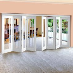 Freefold White Worcester Style Folding 8 Door Set with Clear Glass will look great within your home, all available at affordable prices. Folding Glass Patio Doors, Double Sliding Patio Doors, Internal Folding Doors, Sliding Wood Doors, Glass Barn Doors, Door Dividers, Room Divider Doors, Door Design, House Design