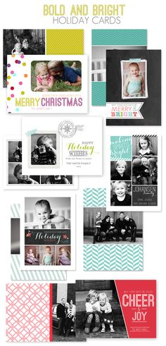 Bold and Bright Christmas Card Templates by Jamie Schultz Designs