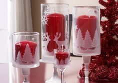 Craft PAINTING - Martha Stewart Holiday Etched Hurricanes (uses Martha Stewart Holiday etching supplies)