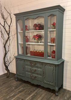 Painted Curio Cabinets, Refinished China Cabinet, Blue China Cabinet, Chalk Paint Cabinets, Painted Hutch, China Hutch Makeover, Cabinet Makeover, Bookshelf Desk, Bookshelves