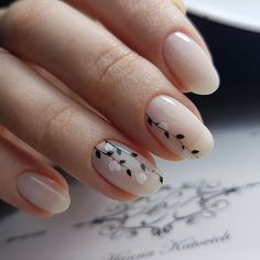 simple classic nails with growing white roses