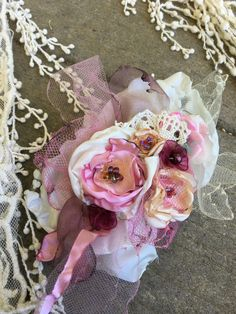 Victorian chabby rose elegant brooch by MARTICASJEWELRY on Etsy