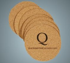 Coasters - i like the idea of using cork and having an engraved logo
