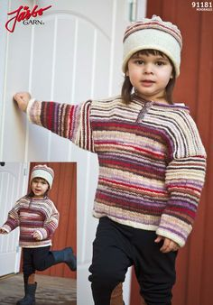 Colorful knitted sweater with matching hat.
