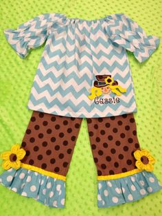 Custom made ruffle pants with matching peasant shirt with scarecrow $45.00