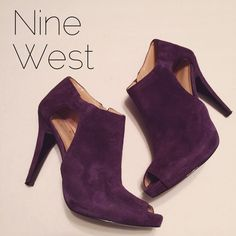 Nine West Purple Leather Peep Toe Booties 8M Excellent condition. Fun spring Color! Nine West Shoes Ankle Boots & Booties