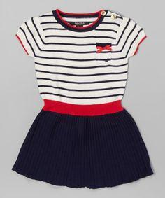 Another great find on #zulily! Navy & Cream Stripe Needle Skirt Dress - Toddler #zulilyfinds