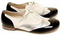 Chaussures femme Richelieu Maurice manufacture ELLIO verni noir-chèvre velours argentée-écru ELLI01V39R | Maurice Manufacture