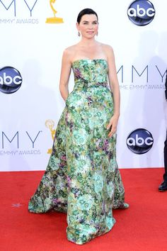 Emmys 2012: The Best of the Red Carpet - Julianna Margulies stuns in an intricate, embellished floral gown by Giambattista Valli Couture.