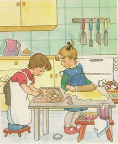 Kids Baking Cookies in the Kitchen Illustration ilclanmariapia: illustratoren-kids