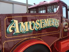 Restoration with fairground style signwriting Painted Letters, Hand Painted Signs, Letras Abcd, Car Lettering, Sign Writing, Vintage Typography, Pinstriping, Sign Design, Custom Paint