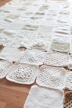 It is always a great idea to make a square of a new pattern and when you have enough put them together in a afghan. Great idea with shades of white/gray/cream with different patterns.