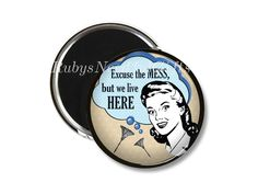 Retro Magnet,  2.25 inch Magnet,  Birthday gift, fridge magnet,  Gifts under a Fiver,  Button Magnet, Retro Housewife. by RubysNeedfulGifts on Etsy