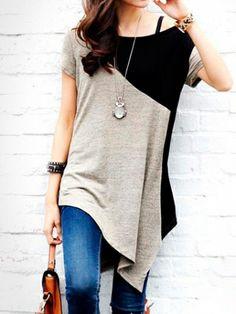 High-Low Patchwork Short Sleeve Long T-Shirts Women's Summer Casual T-Shirts on buytrends.com