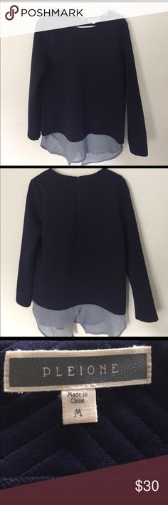 Women's Pleione sweater Women's Pleione Sweater (Nordstroms brand).. SUPER cute and stylish... has chevron stitched fabric with Chambray underlay... 3/4 back zip at neck...100%polyester ; undershirt 80% polyester and 20% cotton... new with tags... Pleione Sweaters