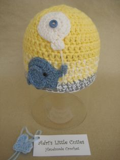 Newborn to 3 months baby boy crocheted hat by AdrisLittleCuties, £13.99