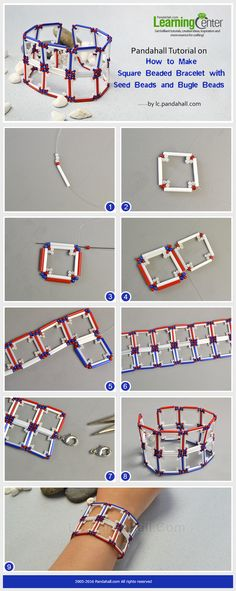 Pandahall Tutorial on How to Make Square Beaded Bracelet with Seed Beads and Bugle Beads from LC.Pandahall.com