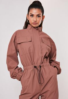 brown high neck long sleeve utility style jumpsuit, featuring a zip through fastening and a drawstring waist. regular fit Ankle Grazer - Sits on the ankle bone Polyurethane pilar wears a UK size 8 / EU size 36 / US size 4 and her height is Denim Top, Fashion Line, Dance Outfits, Classy Outfits, Jumpsuits For Women, Missguided, Drawstring Waist, Lounge Wear, Casual Dresses