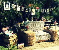 More decor ideas...hay turned into couch!