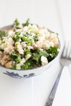 couscous with kale and green garlic dressing. very good. maybe try with quinoa too? consider your bedmate when making (kale + garlic - potent combo)