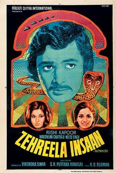 bollywood: Movie poster for Zehreela Insaan, 1974