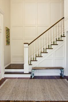stair trim ideas staircase wainscoting design pictures remodel decor and ideas Entry Stairs, House Stairs, Stairwell Wall, Entry Wall, Entry Foyer, Stairs Trim, Entry Rug, Front Entry, Tall Wall Decor
