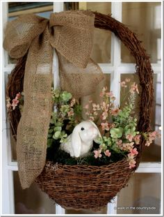 Rustic Easter Basket Wreath...with sweet ceramic bunny & burlap bow.
