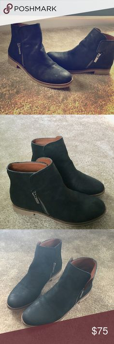 Lucky Brand Black Leather Booties EUC Size 6 Lucky Brand Black Leather Woman's Booties EUC Worn only 1x Size 6 Smoke Free Home Lucky Brand Shoes Ankle Boots & Booties