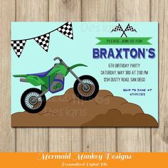 Dirt Bike Invitation Motorcycle Invitation by MermaidMonkeyDesigns